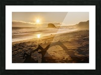 Seashore at sunset, San Simeon State Park; California, United States of America Picture Frame print