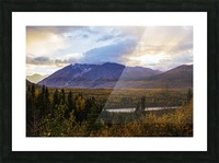 Autumn sunset overlooking the area known as 'Black Rapids' in the Alaska Range along the Richardson Highway; Alaska, United States of America Picture Frame print