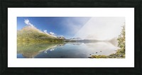Scenic panorama of Kenai Lake and fog at sunrise, Cooper Landing, Southcentral Alaska, USA Picture Frame print