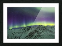 Aurora borealis over mountains within Denali National Park on a very cold winter night.  The Andromeda Galaxy is visible to the left; Alaska, United States of America Picture Frame print