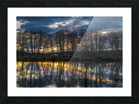 The sun rises along the Lewis and Clark River; Astoria, Oregon, United States of America Picture Frame print