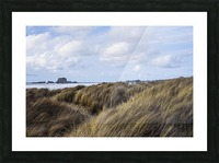 Grass and clouds frame a scene along the coast; Bandon, Oregon, United States of America Picture Frame print
