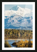 Denali, viewed from the Parks Highway, interior Alaska, near South Viewpoint rest stop; Alaska, United States of America Picture Frame print
