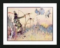 Big Game Hunting in Fairyland. From the illustration by H Folkard from the book Princess Marie-José's Children's Book published 1916. Picture Frame print