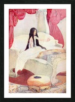 The House in the Wood, illustration from The Golden Wonder Book published 1934.  The bed was of ivory, and the curtains of red velvet, and on a stool close by was placed a pair of slippers ornamented with pearls. Picture Frame print