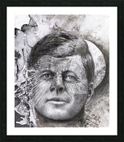 Black and white illustration of a man's face with a full moon overlapping his face Picture Frame print