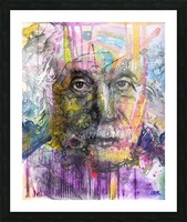 Illustration of a man's face with colourful abstract patterns surrounding it Picture Frame print