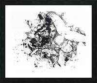Black and white illustration of birds and human faces Picture Frame print