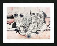 Illustration of male faces overlapping Picture Frame print
