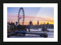 Millennium Wheel and skyline at sunset; London, England Picture Frame print