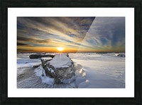 A large ice block on frozen Turnagain Arm at sunset; Anchorage, Alaska, United States of America Picture Frame print