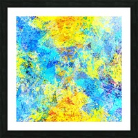 psychedelic geometric abstract pattern in yellow and blue Picture Frame print