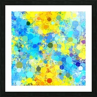 psychedelic geometric circle pattern and square pattern abstract in yellow and blue Picture Frame print