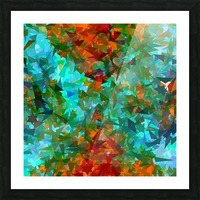 psychedelic geometric abstract pattern in green blue orange Picture Frame print