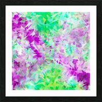 psychedelic geometric triangle abstract pattern in purple and green Picture Frame print