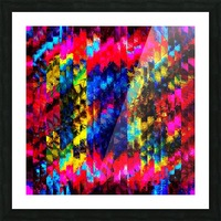 psychedelic geometric painting abstract pattern in red pink blue yellow Picture Frame print