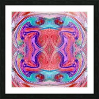 psychedelic geometric symmetry abstract pattern in red pink blue Picture Frame print