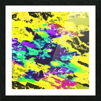 psychedelic splash painting abstract texture in yellow blue green purple Picture Frame print