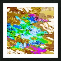 psychedelic splash painting abstract texture in brown green blue pink Picture Frame print