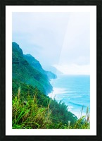 green mountain and ocean view at Kauai, Hawaii, USA Picture Frame print