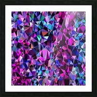 geometric triangle polygon pattern abstract in pink blue black Picture Frame print