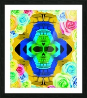 funny skull portrait with colorful roses in pink blue yellow green Picture Frame print