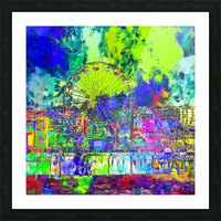 ferris wheel and buildings at Santa Monica pier, USA with colorful painting abstract background Picture Frame print