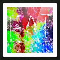 EAT alphabet by fork with colorful painting abstract background Picture Frame print