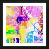 Ferris wheel and modern building at Las Vegas, USA with colorful painting abstract background Picture Frame print