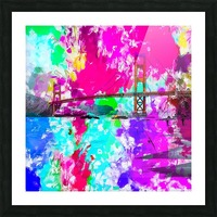 Golden Gate bridge, San Francisco, USA with pink blue green purple painting abstract background Picture Frame print