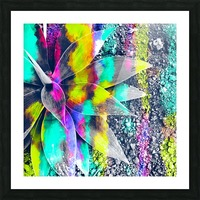 succulent plant with painting abstract background in green pink yellow purple Picture Frame print