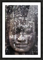 A face sculpture on a stone wall at angkor wat;Cambodia Picture Frame print