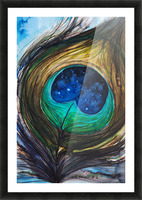Artwork showing the detail of a colourful bird feather Picture Frame print