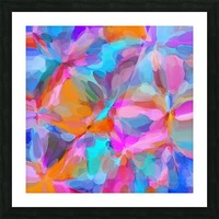 circle pattern abstract background in pink orange and blue Picture Frame print