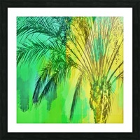 isolate palm tree with painting abstract background in green yellow Picture Frame print