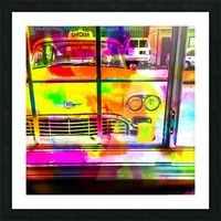yellow classic taxi car with colorful painting abstract in pink orange green Picture Frame print