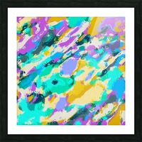 camouflage pattern painting abstract background in green blue purple yellow Picture Frame print