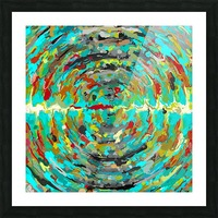 psychedelic circle pattern painting abstract background in green blue yellow brown Picture Frame print