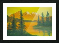 Yellow sky- snow capped mountains. Picture Frame print