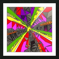psychedelic geometric pattern drawing abstract background in red pink green yellow Picture Frame print