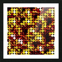 circle pattern abstract background with splash painting abstract in yellow red brown Picture Frame print