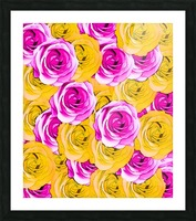 pink rose and yellow rose pattern abstract background Picture Frame print