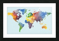 Bright Watercolor Map Of The World Picture Frame print