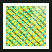 geometric pixel square pattern abstract background in yellow blue brown Picture Frame print