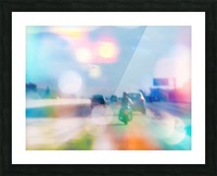 car and motorcycle on the road in the city with bokeh light Picture Frame print