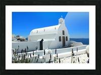 Small White Church in Santorini - Greece Picture Frame print