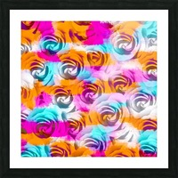 closeup rose texture pattern abstract background in pink orange blue Picture Frame print