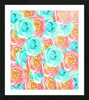 blooming rose texture pattern abstract background in red and blue Picture Frame print