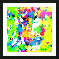 psychedelic geometric pixel abstract pattern in yellow blue green pink Picture Frame print