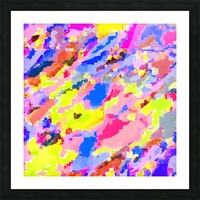 psychedelic geometric square pixel pattern abstract in pink yellow blue Picture Frame print